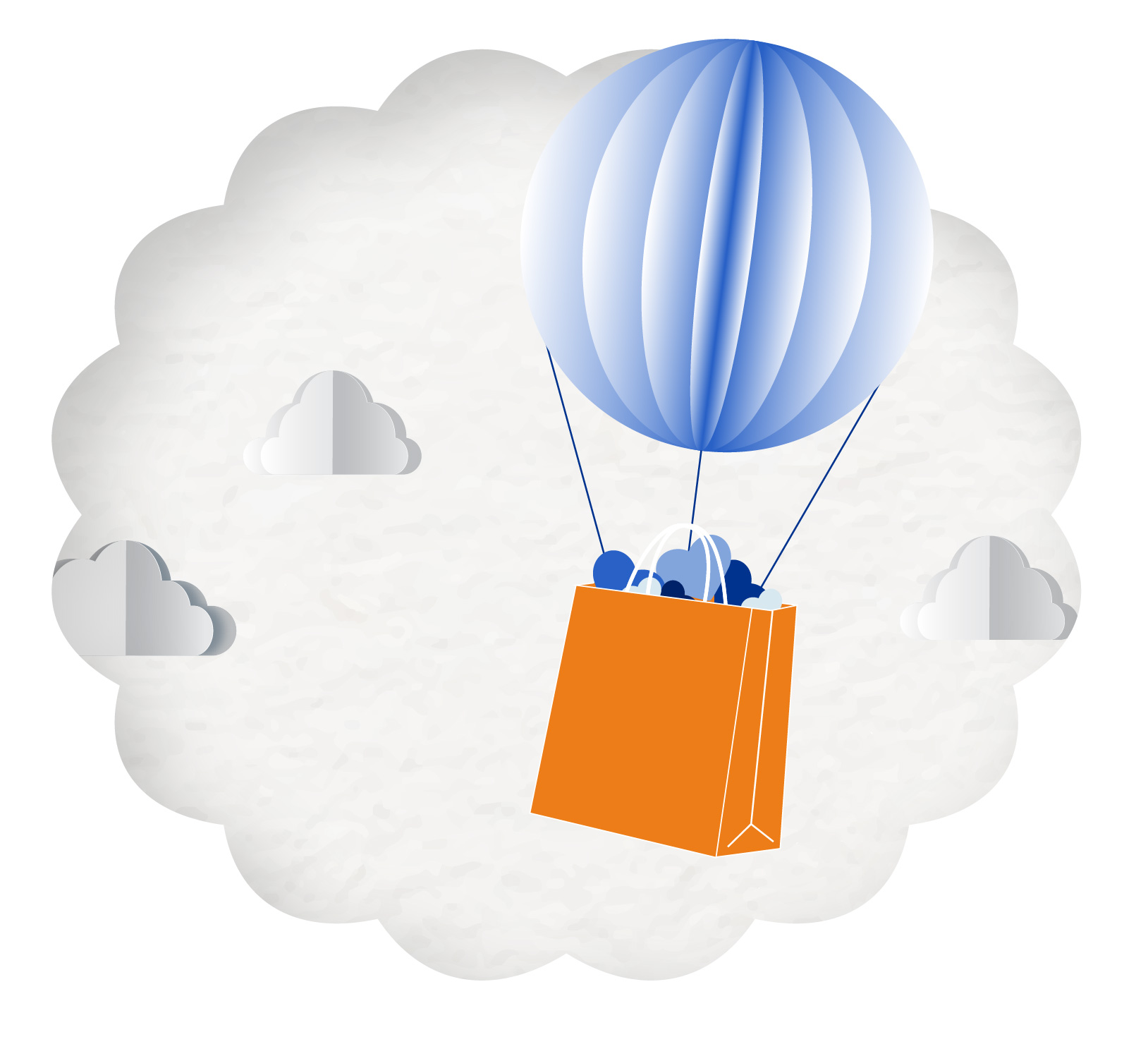 Shopping bag floating with balloons